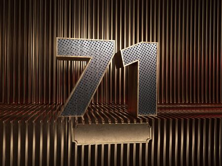number 71 (number seventy-one), perforated with small holes on the background of metal pieces with the tablet for personalized inscriptions. 3D illustration