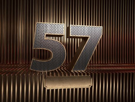 number 57 (number fifty-seven), perforated with small holes on the background of metal pieces with the tablet for personalized inscriptions. 3D illustration