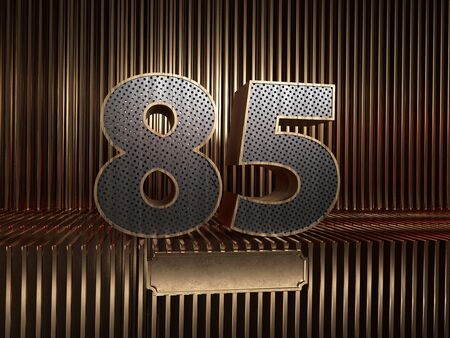 number 85 (number eighty-five), perforated with small holes on the background of metal pieces with the tablet for personalized inscriptions. 3D illustration