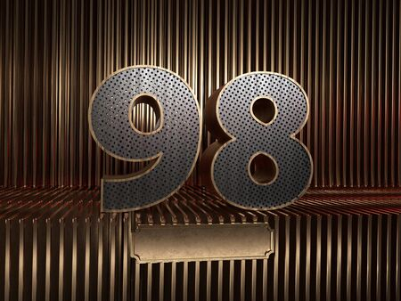 number 98 (number ninety-eight), perforated with small holes on the background of metal pieces with the tablet for personalized inscriptions. 3D illustration 스톡 콘텐츠