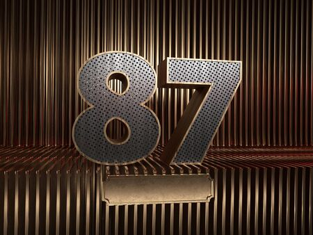 number 87 (number eighty-seven), perforated with small holes on the background of metal pieces with the tablet for personalized inscriptions. 3D illustration 스톡 콘텐츠