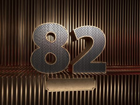 number 82 (number eighty-two), perforated with small holes on the background of metal pieces with the tablet for personalized inscriptions. 3D illustration 스톡 콘텐츠