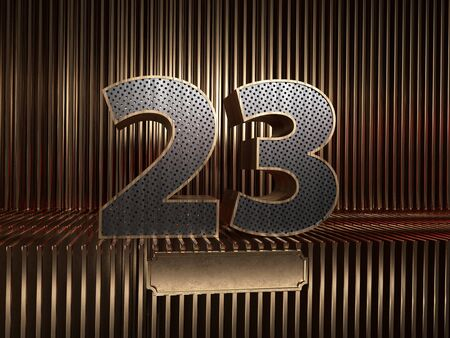number 23 (number twenty-three), perforated with small holes on the background of metal pieces with the tablet for personalized inscriptions. 3D illustration
