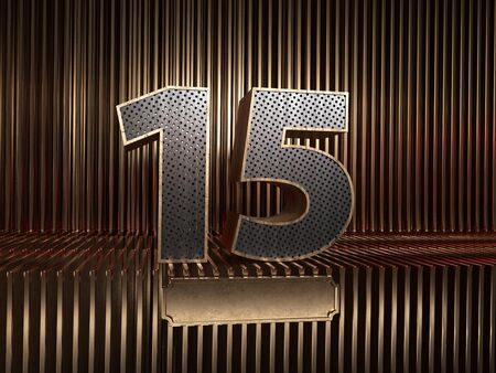 number 15 (number fifteen), perforated with small holes on the background of metal pieces with the tablet for personalized inscriptions. 3D illustration 스톡 콘텐츠