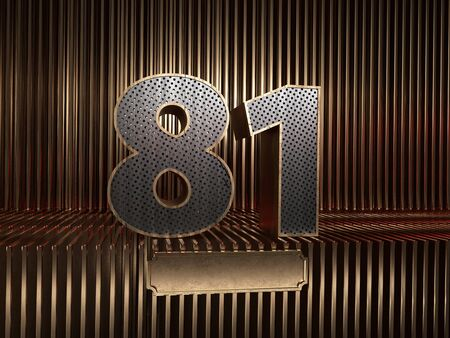 number 81 (number eighty-one), perforated with small holes on the background of metal pieces with the tablet for personalized inscriptions. 3D illustration 스톡 콘텐츠