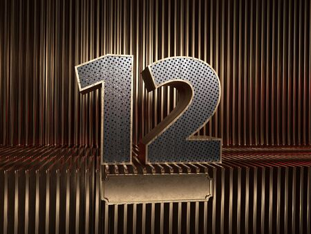 number 12 (number twelve), perforated with small holes on the background of metal pieces with the tablet for personalized inscriptions. 3D illustration