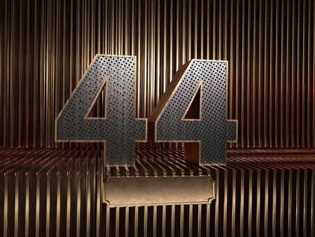 number 44 (number forty-four), perforated with small holes on the background of metal pieces with the tablet for personalized inscriptions. 3D illustration