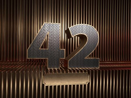 number 42 (number forty-two), perforated with small holes on the background of metal pieces with the tablet for personalized inscriptions. 3D illustration
