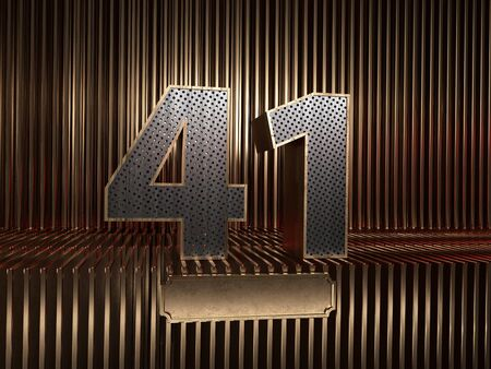 number 41 (number forty-one), perforated with small holes on the background of metal pieces with the tablet for personalized inscriptions. 3D illustration 스톡 콘텐츠