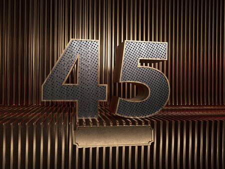 number 45 (number forty-five), perforated with small holes on the background of metal pieces with the tablet for personalized inscriptions. 3D illustration