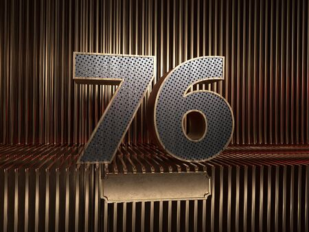 number 76 (number seventy-six), perforated with small holes on the background of metal pieces with the tablet for personalized inscriptions. 3D illustration