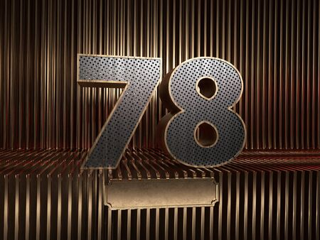 number 78 (number seventy-eight), perforated with small holes on the background of metal pieces with the tablet for personalized inscriptions. 3D illustration