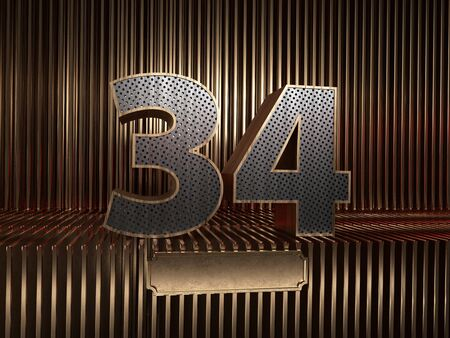 number 34 (number thirty-four), perforated with small holes on the background of metal pieces with the tablet for personalized inscriptions. 3D illustration 스톡 콘텐츠