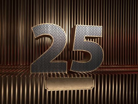 number 25 (number twenty-five), perforated with small holes on the background of metal pieces with the tablet for personalized inscriptions. 3D illustration