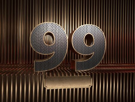 number 99 (number ninety-nine), perforated with small holes on the background of metal pieces with the tablet for personalized inscriptions. 3D illustration 스톡 콘텐츠
