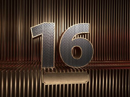 number 16 (number sixteen), perforated with small holes on the background of metal pieces with the tablet for personalized inscriptions. 3D illustration 스톡 콘텐츠