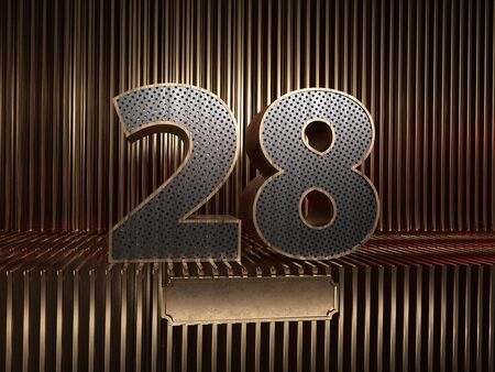 number 28 (number twenty-eight), perforated with small holes on the background of metal pieces with the tablet for personalized inscriptions. 3D illustration 스톡 콘텐츠