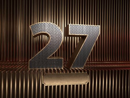 number 27 (number twenty-seven), perforated with small holes on the background of metal pieces with the tablet for personalized inscriptions. 3D illustration