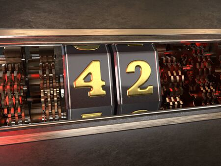 number 42 (number forty-two) style of slot machine. 3D illustration