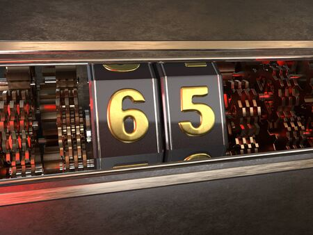 number 65 (number sixty-five) style of slot machine. 3D illustration Stock Photo