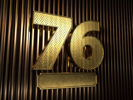 number 76 (number seventy-six) perforated with small holes on the background of metal pieces with the plate for personalized inscriptions. 3D illustration