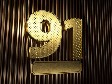 number 91 (number ninety-one) perforated with small holes on the background of metal pieces with the plate for personalized inscriptions. 3D illustration Banco de Imagens