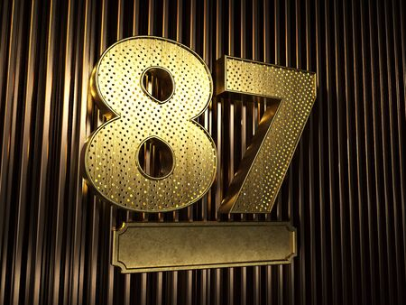 number 87 (number eighty-seven) perforated with small holes on the background of metal pieces with the plate for personalized inscriptions. 3D illustration Banco de Imagens