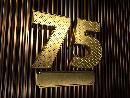 number 75 (number seventy-five) perforated with small holes on the background of metal pieces with the plate for personalized inscriptions. 3D illustration Banco de Imagens