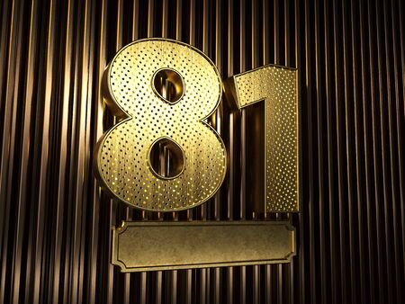 number 81 (number eighty-one) perforated with small holes on the background of metal pieces with the plate for personalized inscriptions. 3D illustration Banco de Imagens