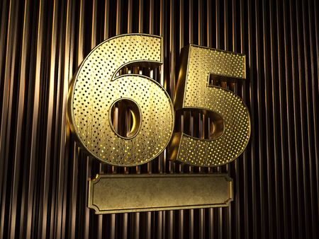 number 65 (number sixty-five) perforated with small holes on the background of metal pieces with the plate for personalized inscriptions. 3D illustration Stock Photo
