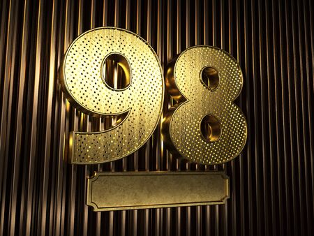 number 98 (number ninety-eight) perforated with small holes on the background of metal pieces with the plate for personalized inscriptions. 3D illustration