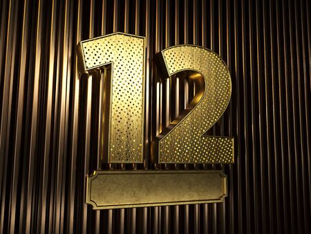 number 12 (number twelve) perforated with small holes on the background of metal pieces with the plate for personalized inscriptions. 3D illustration Banco de Imagens