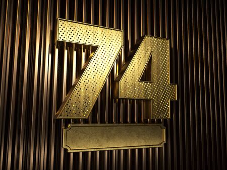 number 74 (number seventy-four) perforated with small holes on the background of metal pieces with the plate for personalized inscriptions. 3D illustration Banco de Imagens