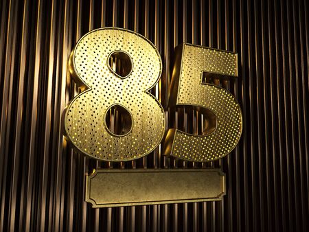 number 85 (number eighty-five) perforated with small holes on the background of metal pieces with the plate for personalized inscriptions. 3D illustration Banco de Imagens