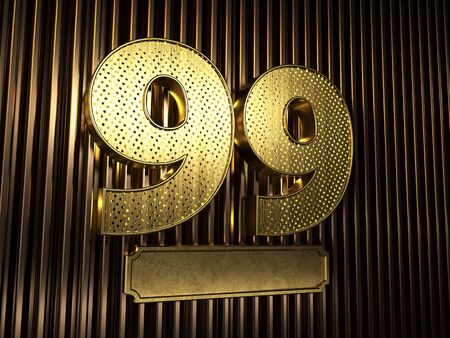 number 99 (number ninety-nine) perforated with small holes on the background of metal pieces with the plate for personalized inscriptions. 3D illustration Banco de Imagens