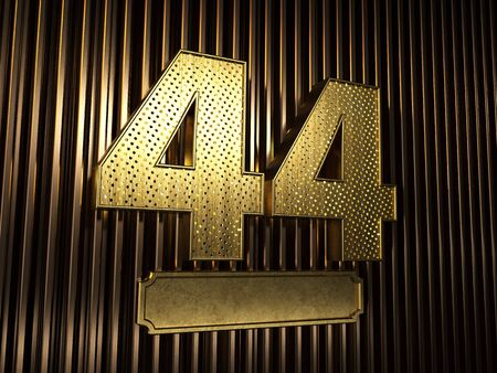 number 44 (number forty-four) perforated with small holes on the background of metal pieces with the plate for personalized inscriptions. 3D illustration