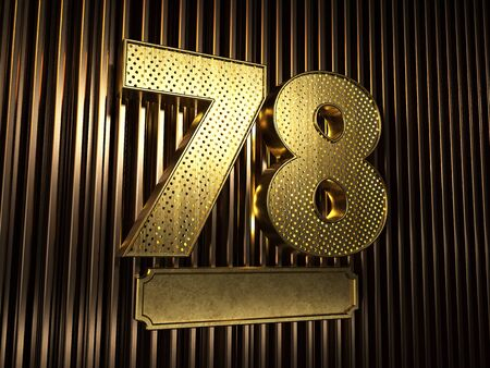 number 78 (number seventy-eight) perforated with small holes on the background of metal pieces with the plate for personalized inscriptions. 3D illustration