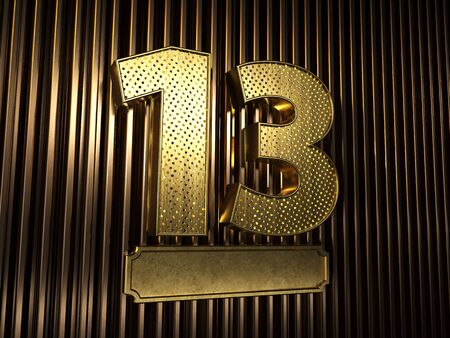 number 13 (number thirteen) perforated with small holes on the background of metal pieces with the plate for personalized inscriptions. 3D illustration Banco de Imagens
