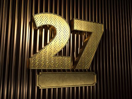 number 27 (number twenty-seven) perforated with small holes on the background of metal pieces with the plate for personalized inscriptions. 3D illustration