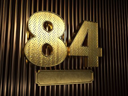 number 84 (number eighty-four) perforated with small holes on the background of metal pieces with the plate for personalized inscriptions. 3D illustration Banco de Imagens