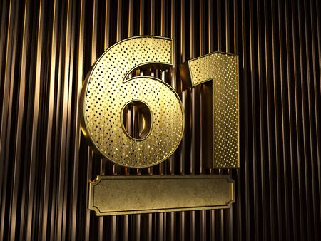 number 61 (number sixty-one) perforated with small holes on the background of metal pieces with the plate for personalized inscriptions. 3D illustration Banco de Imagens