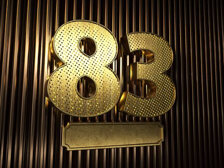 number 83 (number eighty-three) perforated with small holes on the background of metal pieces with the plate for personalized inscriptions. 3D illustration Banco de Imagens