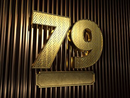 number 79 (number seventy-nine) perforated with small holes on the background of metal pieces with the plate for personalized inscriptions. 3D illustration Banco de Imagens