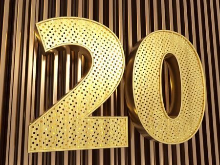 number 20 (number twenty) perforated with small holes on the metal background. 3D illustration