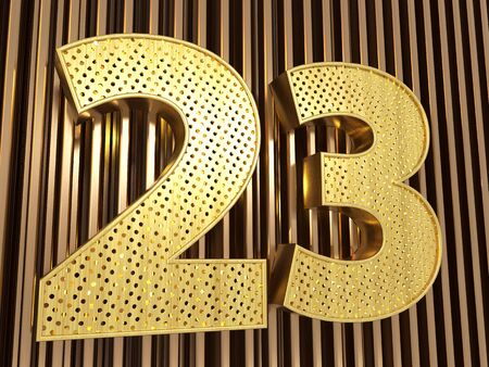 number 23 (number twenty-three) perforated with small holes on the metal background. 3D illustration
