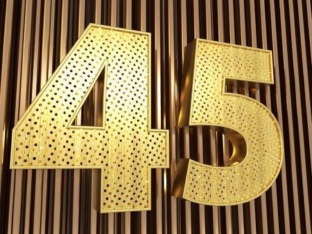 number 45 (number forty-five) perforated with small holes on the metal background. 3D illustration
