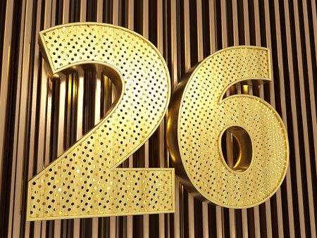 number 26 (number twenty-six) perforated with small holes on the metal background. 3D illustration