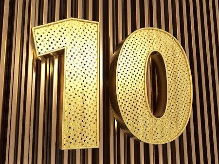 number 10 (number ten) perforated with small holes on the metal background. 3D illustration