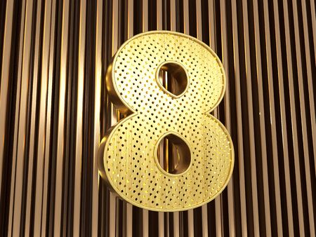 number 8 (number eight) perforated with small holes on the metal background. 3D illustration