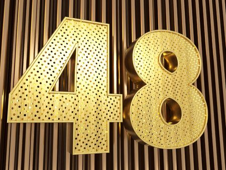 number 48 (number forty-eight) perforated with small holes on the metal background. 3D illustration